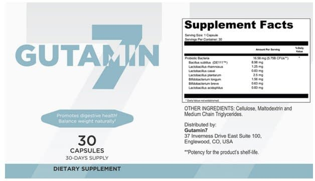 Gutamin 7 Supplement Facts