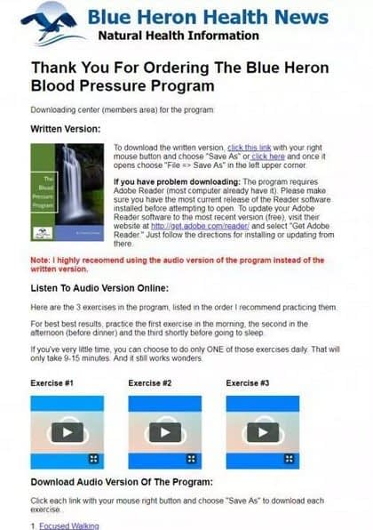 Blue Heron Blood Pressure Program Member Area