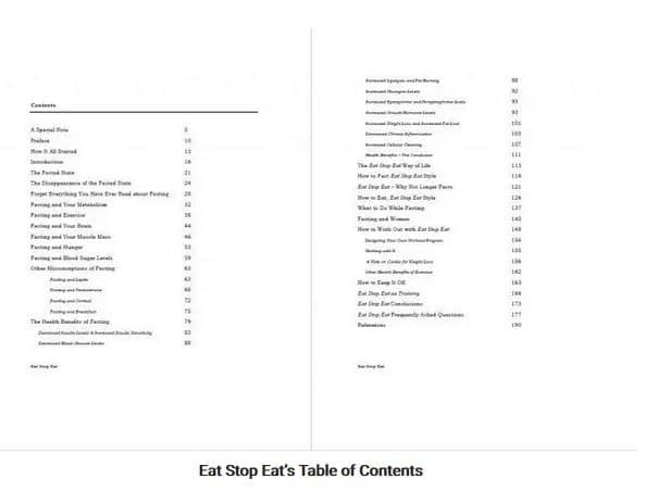 Eat Stop Eat Table of Contents