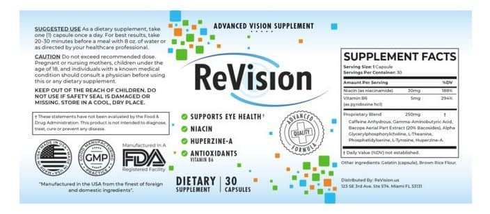 ReVision 20 Ingredients